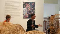 Cambodian artist Sopheap Pich talks about his life and art at the Crow Collection of Asian Art in Dallas.(Crow Collection/Sara Kern)