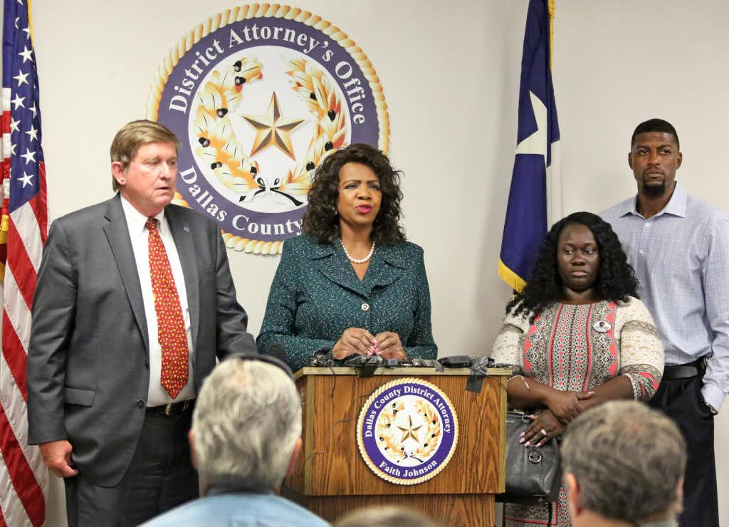 """<p><span style=""""font-size: 1em; background-color: transparent;""""></span></p><p><span style=""""font-size: 1em; background-color: transparent;"""">Jordan Edwards' stepmother Charmaine Edwards and father Odell Edwards, at right, listen as Dallas County District Attorney Faith Johnson announces that a grand jury indicted fired Balch Springs officer Roy Oliver at on a murder charge for Jordan's death and four additional charges of aggravated assault with a deadly weapon by a public servant. The news conference was held Monday, July 17 at the Frank Crowley Courts Building in Dallas. Jordan Edwards was killed in the April 29 in Balch Springs. Also pictured is First Assistant District Attorney First Assistant Mike Snipes.</span></p><p></p>(Louis DeLuca/Staff Photographer)"""