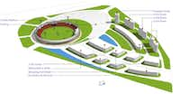 A rendering of a cricket complex.(Courtesy of Global Sports Ventures)