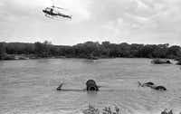 A helicopter hovers over the Seagoville Road Baptist Church bus swept away by floodwater on July 17, 1987.(1987 File Photo/San Antonio Express-News)