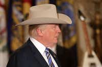 President Donald Trump wore a Stetson from Garland while touring a Made in America product showcase in the East Room of the White House on Monday. (Chip Somodevilla/Getty Images)