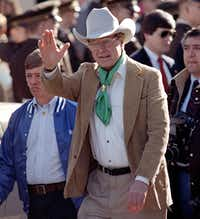 Then-Vice President George H.W. Bush was in Houston on Feb. 20, 1988, to participate in the Houston Rodeo Parade.(File Photo/The Associated Press)