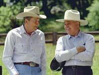 Former President Ronald Reagan (left) and former Soviet President Mikhail Gorbachev donned cowboy hats on May 2, 1992, on Reagan's Rancho del Cielo, north of Santa Barbara, Calif. (Bob Galbraith/The Associated Press)