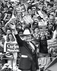 "President Jimmy Carter wore a cowboy hat as he campaigned in Brownsville, Texas, on Nov. 1, 1980.(Phil Huber/<p><span style=""font-size: 1em; background-color: transparent;"">Staff Photographer</span><br></p><p></p>)"