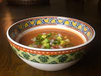 Gazpacho sevillano is easily made at home. Start with seriously ripe tomatoes.(Leslie Brenner/Staff)
