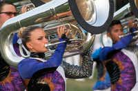 A Blue Knights tuba player performs with her section during their 2017 show.(Kayle Koberowski/Ascend Performing Arts)