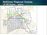This map is taken from a slide in a city of McKinney presentation in February of possible Highway 380 bypass alignments. (City of McKinney)