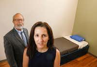 Randy Routon, CEO of LifePath Systems, and Tammy Mahan, director of Behavioral Health, in one of the observation rooms at the LifePath Crisis Center. The McKinney facility has six observation rooms and 14 beds in the voluntary unit.(Ron Baselice/Staff Photographer)