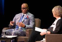 Keven Ann Willey interviewed retired Dallas Police Chief David Brown in June during the debut event of Brown's tour for his biography, <i>Called To Rise: A Life in Faithful Service to the Community That Made Me.</i> (Ryan Michalesko/The Dallas Morning News)
