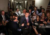 Sen. Ted Cruz speaks to reporters after attending a health care bill meeting with fellow Republican senators at the Dirksen Senate Office Building on July 19, 2017.(Joe Raedle/Getty Images)