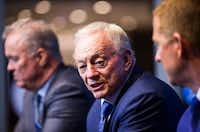 Dallas Cowboys Executive Vice President and CEO Stephen Jones, owner Jerry Jones and head coach Jason Garrett answer questions from reporters after choosing defensive end Taco Charlton in round one of the 2017 NFL Draft on Thursday, April 27, 2017 at The Star in Frisco, Texas. (Ashley Landis/The Dallas Morning News)(Ashley Landis/Staff Photographer)