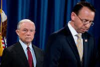 Deputy Attorney General Rod Rosenstein (right) with Attorney General Jeff Sessions(Andrew Harnik/The Associated Press)