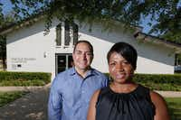 Ben Leal, CEO, and Marjorie Murat, director of program service for Jubilee Park, stand in front of The Old Church at Jubilee Park that was converted for Jubilee Park's new mental health facility. The ribbon-cutting for the facility is later this month.(Ron Baselice/Staff Photographer)