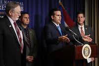 Puerto Rico Gov. Ricardo Rossello spoke during a news conference last month about the June 11 vote in favor of U.S. statehood with Rep. Don Young (left), R-Ark., Rep. Darren Soto, D-Fla., and Puerto Rico Secretary of State Luis Rivera Marin at the National Press Club in Washington. (Chip Somodevilla/Getty Images)