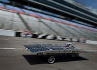 The Walnut Solar Car from Walnut Valley Unified School District in Walnut, Calif., was one of the entries that raced Saturday. (Robert W. Hart/Special Contributor)
