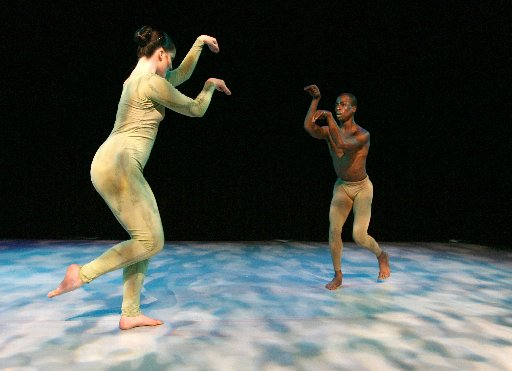 Lindsay Yoes (left) and Darrell Cleveland danced in the production of Mantis, a dance that explores the mating ritual of the praying mantis, during the South Dallas Dance Festival in 2007. (Rex C. Curry)