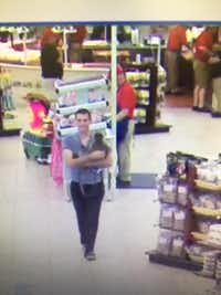 Surveillance footage showed a man and his pet monkey at the Terrell Buc-ee's on Friday, where the monkey is said to have bit or scratched a girl's neck.(City of Terrell Animal Adoption Center)