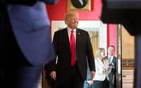 President Donald Trump arrives to speak at an event where he discussed what he said were the negative effects of the Affordable Care Act in the Blue Room of the White House in Washington, July 24, 2017.(Tom Brenner/The New York Times)