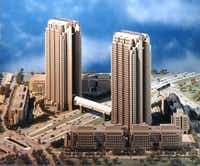 The original artist's model of Cityplace showed two 42-story towers. only one was built. (File Photo/Staff)