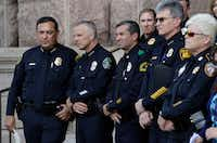 """Houston Police Chief Art Acevedo, from left, Austin Police Chief Brian Manley, Dallas Police Major Rueben Ramirez and San Antonio Police Chief William McManus take part in public safety event where they spoke against a proposed """"bathroom bill,"""" on Tuesday in Austin.(Eric Gay/AP)"""