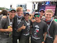 From left: Bradley Robinson, Dillon Savage, Hunter Reynolds, Kevin Kerrigan, Chase Cutler and John Miller, Willow Park scouts from Venturing Crew 2001, attended President Trump's speech on Monday.(Debbie Kerrigan)