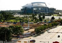 The Texas Live! entertainment complex is under construction adjacent to AT&T Stadium in Arlington.(Tom Fox/Staff Photographer)