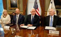Vice President Mike Pence met this month with a group of philanthropic leaders including Linda Evans of the Meadows Foundation, Fred Klipsch of Hoosiers for Quality Education, and Adam Meyerson, president of the Philanthropy Roundtable.(Alex Brandon/The Associated Press)