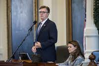 Lt. Gov. Dan Patrick presided over debate on the bill to impose stricter penalties in case of voter fraud. (Tamir Kalifa/Austin American-Statesman)