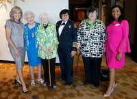 From left: Madeline McClure,  Vivian Castleberry, Ginny Whitehill, Dallas County Sheriff Lupe Valdez, Hind El Saadi El Jarrah and Cynthia Nwaubani posed for a portrait at the Dallas Women's Foundation Leadership Forum and Awards Dinner VIP reception at the Omni Dallas on May 9. (Vernon Bryant/Staff Photographer)