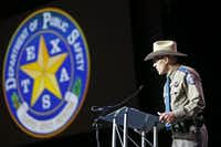 Texas Department of Public Safety Director Steven McCraw spoke during the 155th trooper training class graduation ceremony last year in Austin. (Jae S. Lee/Staff Photographer)