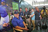 """Former Texas Rangers catcher Ivan """"Pudge"""" Rodriguez talks with reporters Saturday in Cooperstown, N.Y. during Hall of Fame Weekend.(Louis DeLuca/The Dallas Morning News)"""