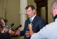 Dallas Mayor Mike Rawlings speaks with reporters after meeting with Gov. Greg Abbott to discuss local control issues on Tuesday.(Thao Nguyen/Special Contributor)