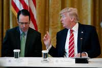 "AT&T CEO Randall Stephenson attended an ""American Leadership in Emerging Technology"" event hosted by President Donald Trump at the White House in June. (Evan Vucci/The Associated Press)"