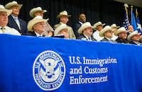 Eighteen Texas sheriffs signed new 287(g) agreements from U.S. Immigration and Customs Enforcement on Monday at the Gaylord Texan in Grapevine. <div><br></div>(Ashley Landis/Staff Photographer)