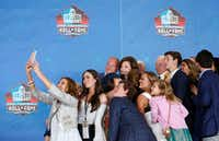 Dallas Cowboys executive vice president takes a selfie with her family and 2017 Pro Football Hall of Fame inductee and Dallas Cowboys owner and general manager Jerry Jones at the 2017 Pro Football Hall of Fame Enshrinement Ceremony at Tom Benson Stadium in Canton, Ohio on Saturday, August 6, 2017. (Vernon Bryant/The Dallas Morning News)
