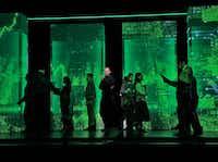Edward Parks as Steve Jobs and the Santa Fe Opera Chorus in the Santa Fe Opera's <i>The (R)evloution of Steve Jobs</i>.(Ken Howard)