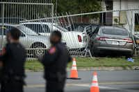 A drive-by shooting is reported to have occurred at the intersection of Bell Avenue and Mingo Road in Denton. The victim's car then crashed into Massey Auto Sales Service and Parts at 406 Bell Place.(Jake King/Denton Record-Chronicle)