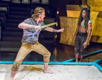 Kyle Igneczi as Theseus, left, and Darren McElroy as The Minotaur in the regional premiere  at Theatre Three in Dallas.(Ron Heflin/Special Contributor)