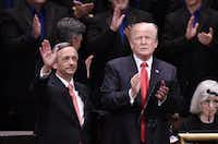 US President Donald Trump and Pastor Robert Jeffress participate in the Celebrate Freedom Rally at the John F. Kennedy Center for the Performing Arts on July 1, 2017  in Washington, DC.  (Olivier Douliery-Pool / Getty Images)