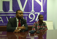"""<p>Attorney Lee Merritt, left, and Rashaun Barnes held a news conference Wednesday. Merritt<span style=""""font-size: 1em; background-color: transparent;"""">hopes to file a class-action lawsuit against the Grand Prairie Police Department soon, saying that at least 10 other people have come forward to accuse officers of racial profiling.</span></p>(KXAS-TV (NBC5))"""