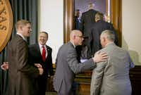 """<p><br><span style=""""font-size: 1em; background-color: transparent;"""">From left to right: Texas state Reps. Matt Krause, Ron Simmons, </span><span style=""""font-size: 1em; background-color: transparent;"""">Dennis Bonnen and Dwayne Bohac confer. (2015 File Photo/Austin American-Statesman)</span></p>"""