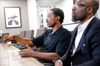 Kennan Jones (left), the man attacked on a DART train, spoke this week about the attack and his case alongside his attorney Emmanuel U. Obi in Obi's downtown Dallas office. (Tom Fox/Staff Photographer)