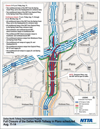 Lane closures this weekend on the Dallas North Tollway will begin at 9 p.m. on Friday.(North Texas Tollway Authority)