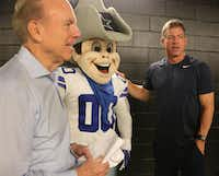 "Roger Staubach, Dallas Cowboys mascot ""Rowdy"" and Troy Aikman visited during the filming of a public service announcement for United Way of Metropolitan Dallas at American Airlines Center on Aug. 7.(Louis DeLuca/Staff Photographer)"