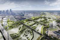 A digital, conceptual, rendering of the Trinity River Plan introduced May 20, 2016. This view shows a two-to-three year flood event.(City of Dallas )