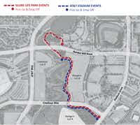 Once Milo begins operations on Aug. 26, it will follow the blue path for Cowboys games and the red path for Rangers games. Each shuttle has the capacity to hold 12 passengers -- or 10 with wheelchair access for one more.(City of Arlington)