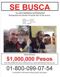 """<p><strong style=""""font-size: 1em; background-color: transparent;""""></strong></p><p style=""""display: inline !important;"""">Private investigators distributed missing posters in Cabo San Lucas, Mexico, offering a million peso reward for information about Elijah Hernandez. The listed phone number is no longer active. (Courtesy of Teresa Hernandez)</p>"""