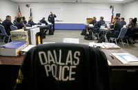 Deputy Chief Jeffrey Cotner, now retired, taught an excellence in policing class to a room of recruits at the Dallas Police Department's training facility in May. (Nathan Hunsinger/Staff Photographer)
