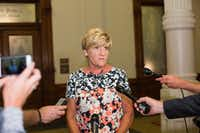 Fort  Worth Mayor Betsy Price speaks with reporters after meeting with Gov. Greg Abbott  to discuss the governor's escalating assault on local control.(Thao Nguyen/Special Contributor)