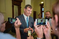 "<p><span style=""font-weight: normal;"">Dallas Mayor Mike Rawlings speaks with reporters after meeting with Gov. Greg Abbott to discuss the governor's escalating assault on local control at the Texas State Capitol on August 1, 2017 in Austin, Texas.</span></p>(<p>Special Contribut<wbr style="""">or</p>/<p>Thao Nguyen</p>)"